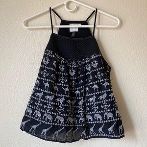 Anthropologie black Embroidered Halter Top